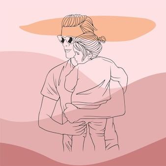 Отец обнимает сына на день отца в стиле b линии искусства