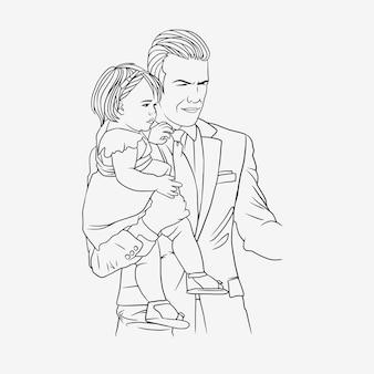 Отец обнимает сына на день отца в стиле арт линии h