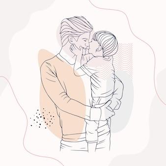 Отец обнимает своего сына на день отца в стиле арт линии p