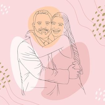 ラインアートスタイルで父の日のために彼の息子を抱き締める父