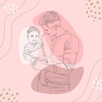 Отец обнимает своего сына на день отца в стиле линии искусства t