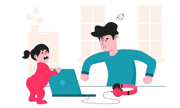 Отец злится на свою маленькую дочь, которая постоянно мешает ему работать. проблемы с воспитанием детей во время карантина ковид-19. работая от дома и оставаясь безопасной красочной иллюстрацией.