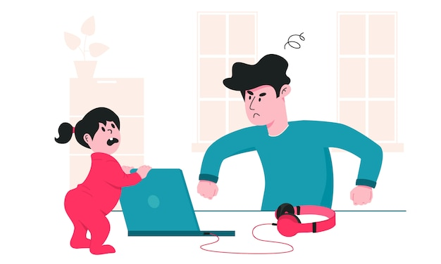 Father is angry at his little daughter, who constantly interferes him from work. parenting problems during covid-19 quarantine. working from home and staying safe colorful illustration.