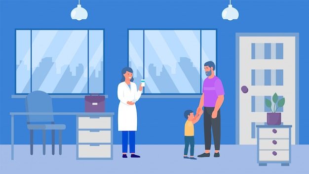 Father and kid son boy at pharmacist or woman doctors childrens doctor podiatrist office illustration. medical consultation and pills
