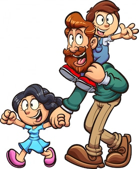 Father and kids cartoon illustration