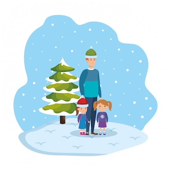 Father and kids in snowscape