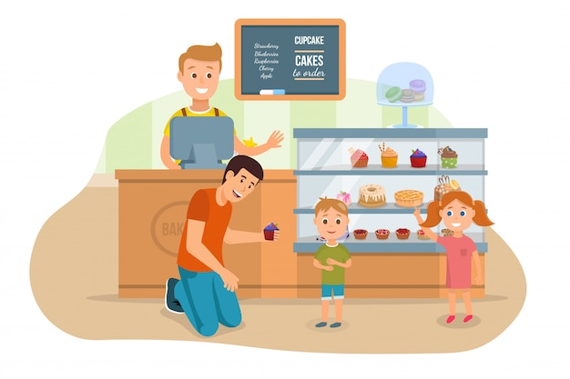 Father and kids visiting bakery shop illustration