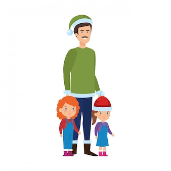 Father and kids with christmas clothes