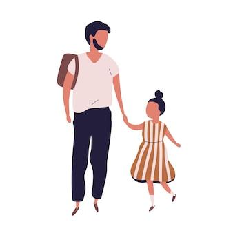 그의 학생 딸을 학교로 이끄는 아버지. 함께 걷는 현대 가족의 초상화입니다. 아빠와 어린 소녀 흰색 배경에 고립 된 손을 잡고. 평면 스타일의 다채로운 벡터 일러스트입니다.