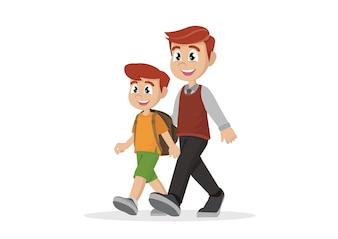 Father leads son to school.