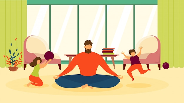Father in lotus pose in living room flat vector