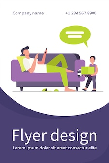 Father lying on sofa and listening son with toy. child, truck, speech bubble flat illustration. flyer template