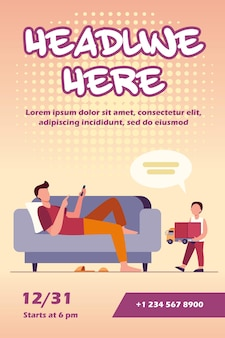 Father lying on sofa and listening son with toy flyer template