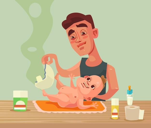 Отец мужчина персонаж меняет детские подгузники.