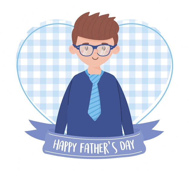 Father man with ribbon on fathers day   design