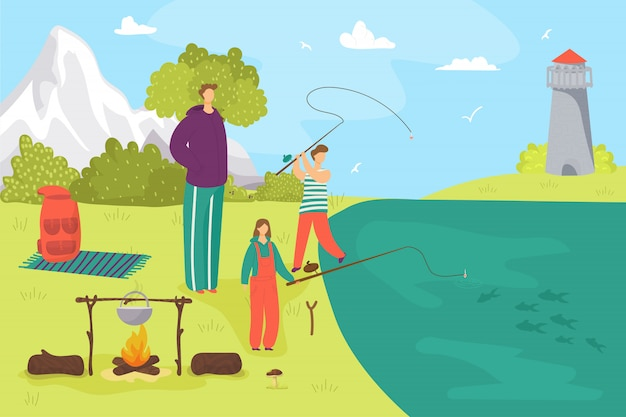 Father man with son character fishing, family hobby leisure  illustration. dad with male child, happy boy girl with fishing rod near water lake. people kid and adult recreation, activity.