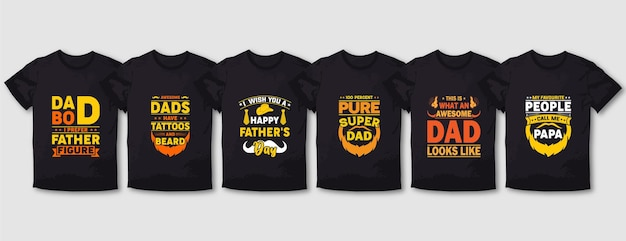 Father and mom typography t shirt design set
