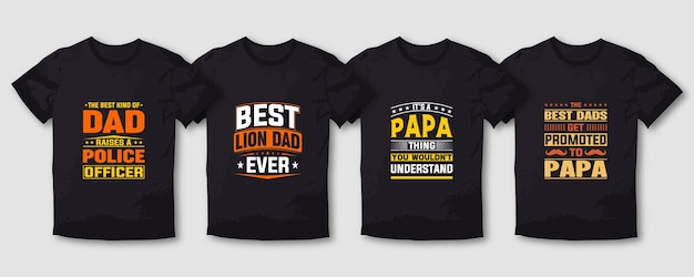 Father and mommy typography t shirt design lettering set