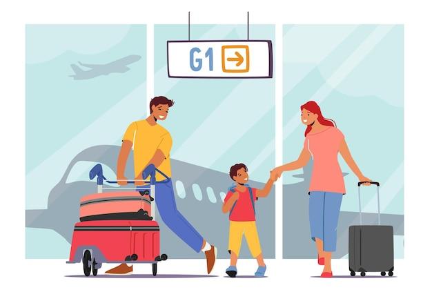 一緒に旅行する父、母、息子のキャラクター。夏休みに子供と家族旅行。休日のために荷物が飛ぶ空港の両親と子供。漫画の人々のベクトル図