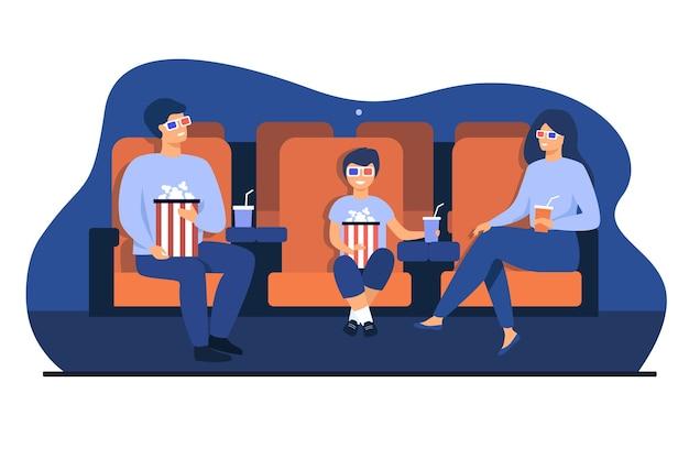 Отец, мать и сын в 3d-очках сидят в креслах, держат ведра с попкорном и содовой и смотрят смешной фильм в кинотеатре. векторная иллюстрация для семейного досуга, концепция развлечений