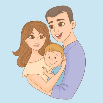 Father and mother holding its son in arms