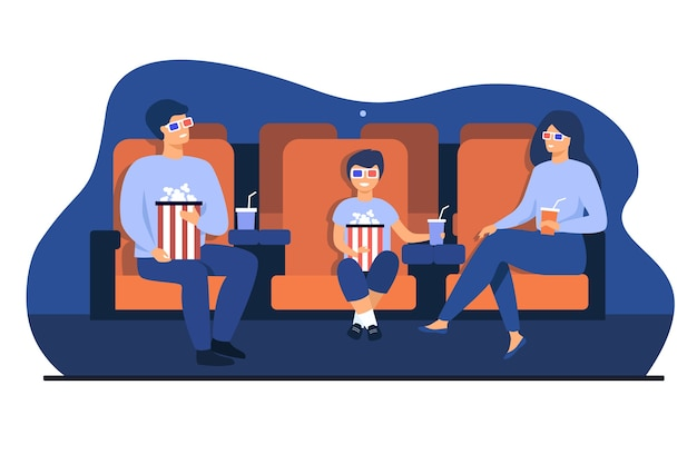 Father, mother and son in 3d glasses sitting in chairs, holding popcorn buckets and soda and watching funny movie in cinema theatre. vector illustration for family leisure time, entertainment concept