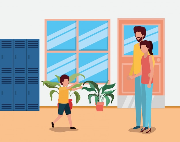 Father and mother with son at school , family relationship avatar lifestyle person and character
