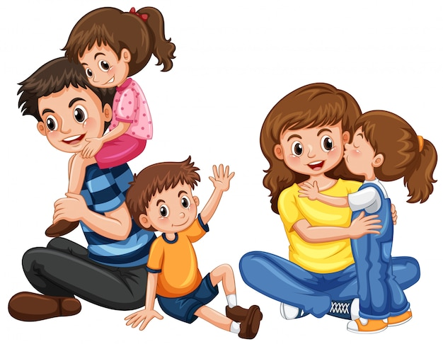 Father and mother with three kids