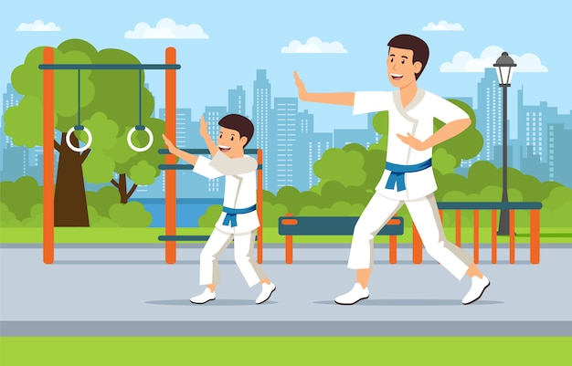 Father on playground teaches son martial arts.