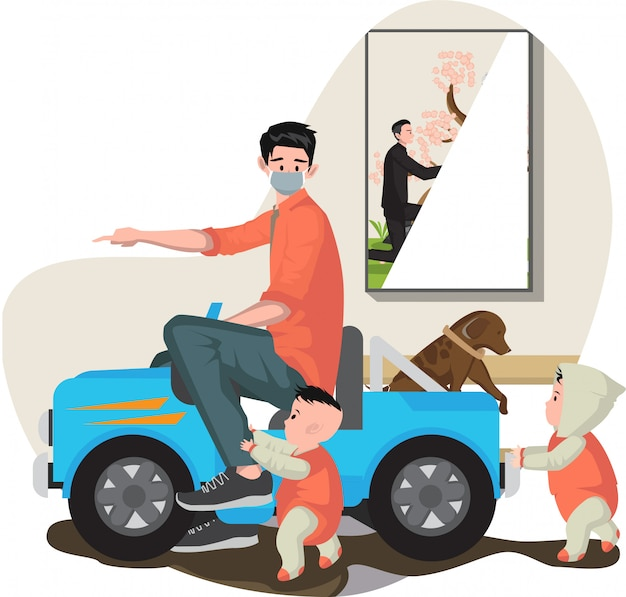 父は自宅で彼の赤ちゃんと一緒に車のおもちゃを遊んで
