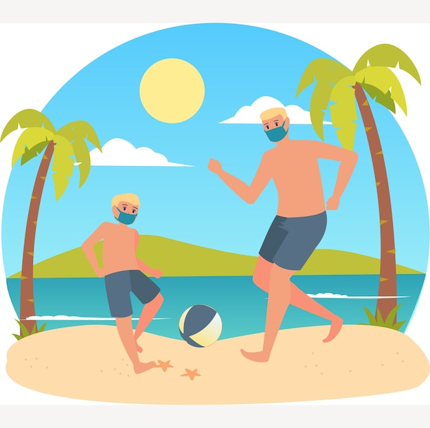Father playing football with his son at the beach while using medical mask