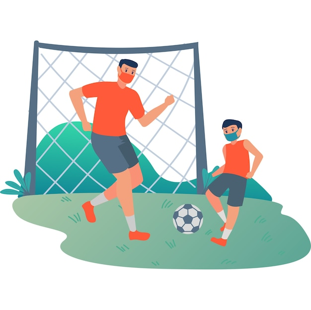 Father playing football with his son at football yard illustration