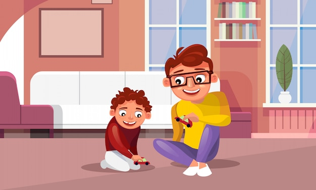 Father playing toy cars with son at home in living room