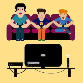 Отец играет на видеоконференции со своими детьми