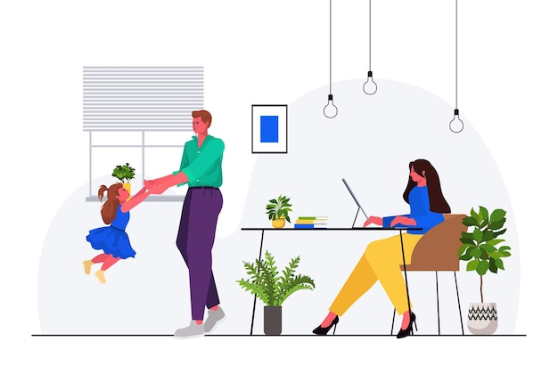 Father playing with little daughter mother sitting at workplace parenting fatherhood concept friendly family spending time together at home full length horizontal vector illustration