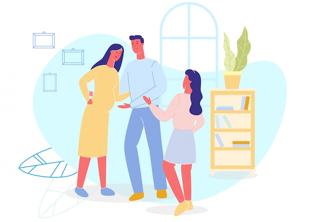 Отец, беременная мать и дочь дома.