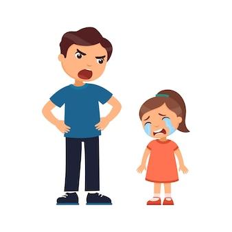 父は泣いている少女を罰します。虐待的な子育ての概念。