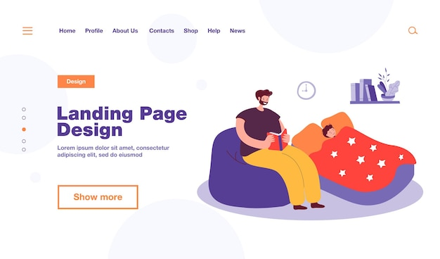 Father reading bedtime story to son. child sleeping, man sitting with book flat  illustration. bedtime, family, parenting concept , website design or landing web page