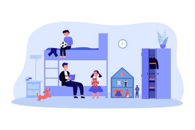 保育園の子供たちに本を読んでいる父。おもちゃのフラットベクトルイラストと部屋で娘と息子と一緒にベッドに座っている男。バナー、ウェブサイトのデザインまたはランディングウェブページの家庭教育の概念