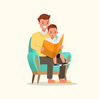 Father reading book with son.