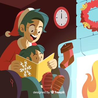 Father reading to her daughter christmas illustration