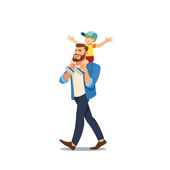 Father riding son on shoulders cartoon vector