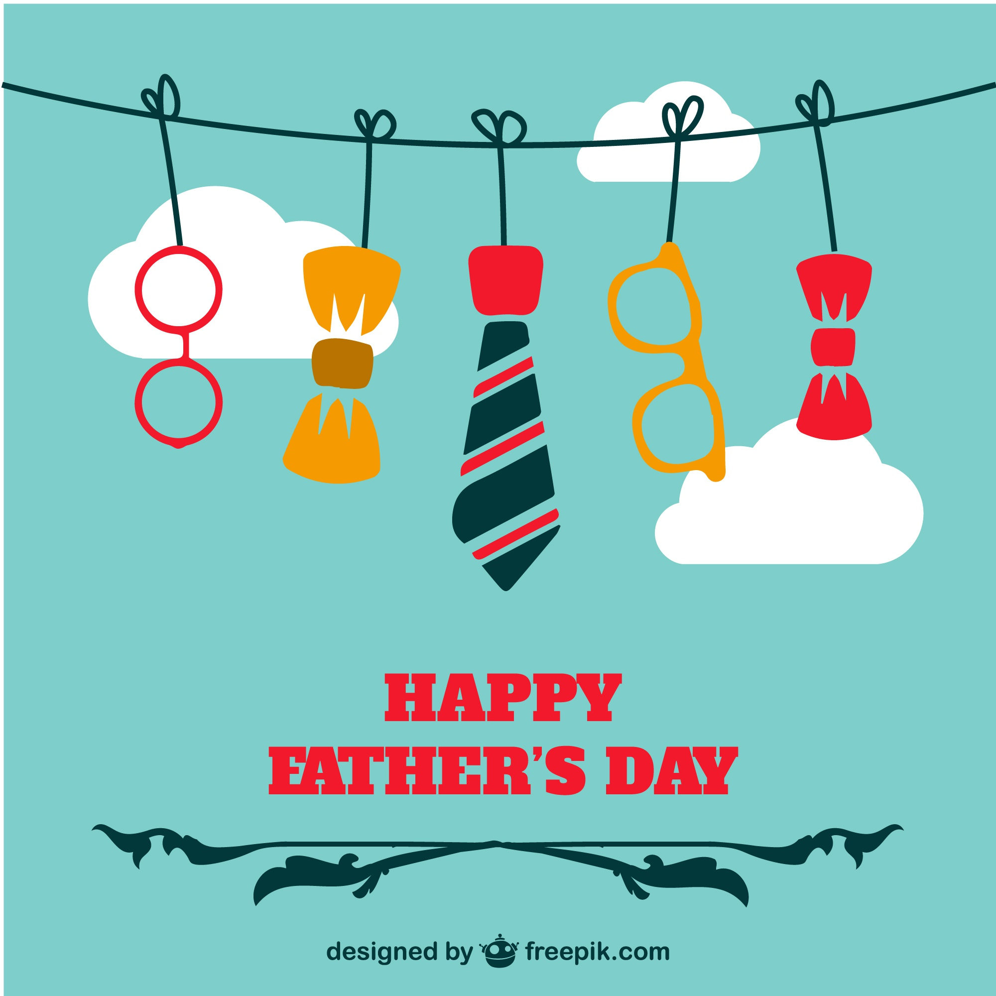 Father's day background with a hanging tie and two bow ties