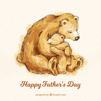 Father's day background with cute bears in watercolor style