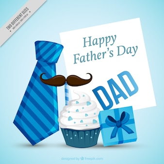 Father's day background with decorative items in blue tones