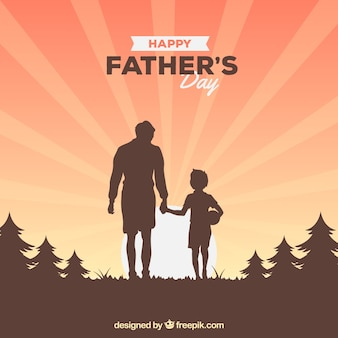Father's day background with family silhouette