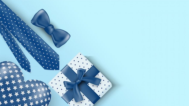 Father's day background with gift box illustrations, ties, ribbons and love balloons in 3d.