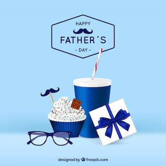 Father's day background with gifts box in realistic style