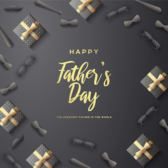 Father's day background with gold writing and illustration of gift boxes, glasses, 3d tie.