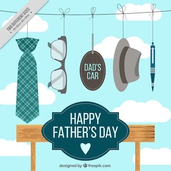 Father's day background with hanging elements